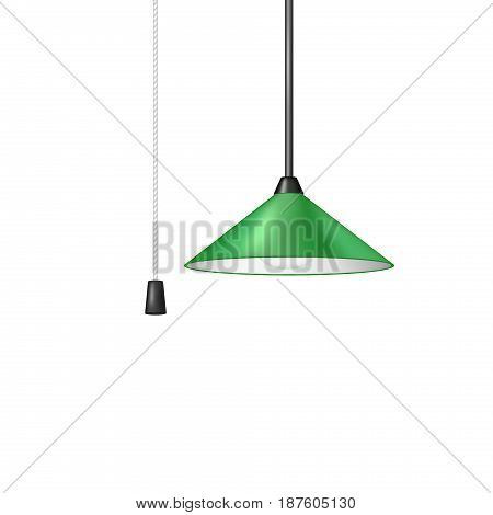 Retro hanging lamp in green design with black and white cord switch on white background