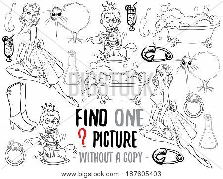 Find one picture without a copy. Educational game for children with cartoon characters. Characters ready for colouring.