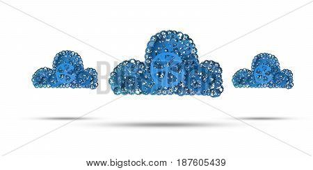 Cloud computing and networking shown like gears and cogwheels engine