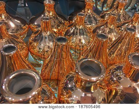Copper ware, peared shape bottle, closeup pattern
