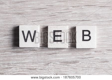 Internet media conceptual word collected of wooden elements with the letters