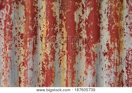 Red weathered galvanize sheet for background and texture