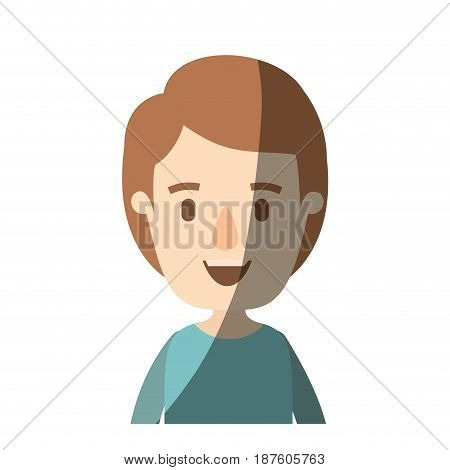 light color shading caricature half body boy with hairstyle vector illustration