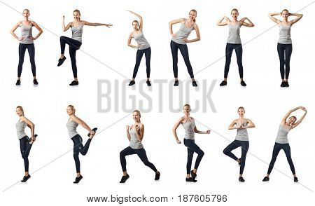 Young woman doing sports isolated on white
