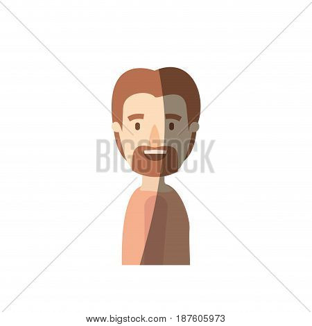 light color shading caricature side view man with moustache and beard vector illustration