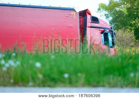 Truck on a parking near a highway in Germany