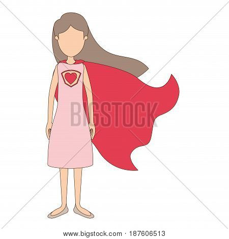 light color caricature faceless full body super hero woman with dress and cap vector illustration