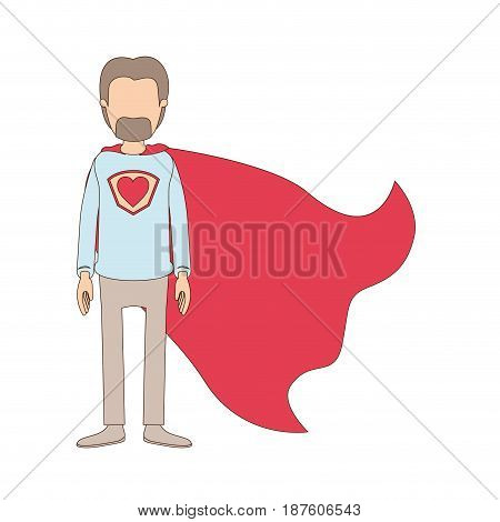 light color caricature faceless full body super dad hero with beard vector illustration