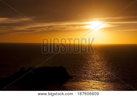 Pigeon Island Castle during Sunset in Kusadasi,Turkey