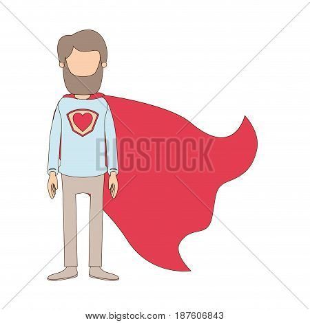 light color caricature faceless full body beard super man hero with heart symbol in uniform vector illustration