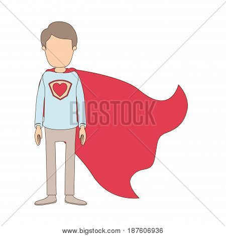 light color caricature faceless full body super guy hero with heart symbol in uniform vector illustration