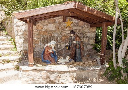 Joseph Mary and Baby Jesus statues in Virgin Mary house, Ephesus , Turkey