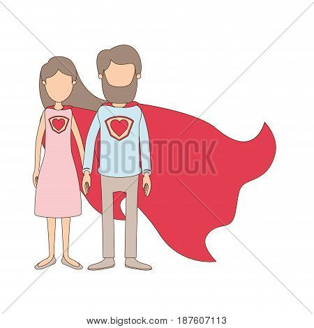 light color caricature faceless full body couple parents super hero with uniform and cap vector illustration