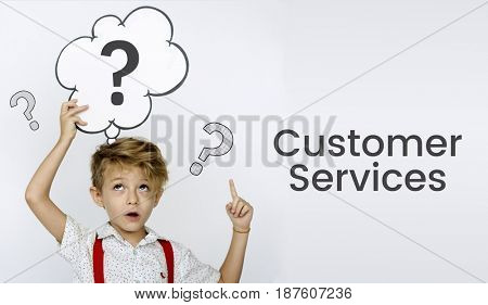 Young boy holding banner network graphic overlay background