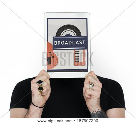 Man holding digital device covering face network graphic
