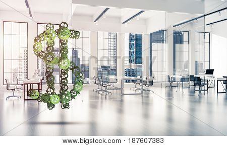 Making money and wealth represented by dollar sign made of gears. 3d rendering