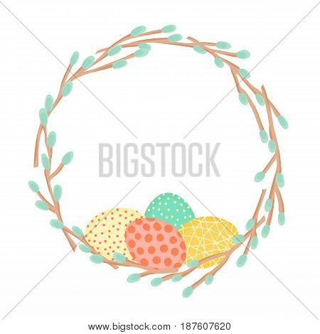 Easter wreath made of willow branches and painted eggs. Festive frame in vector.