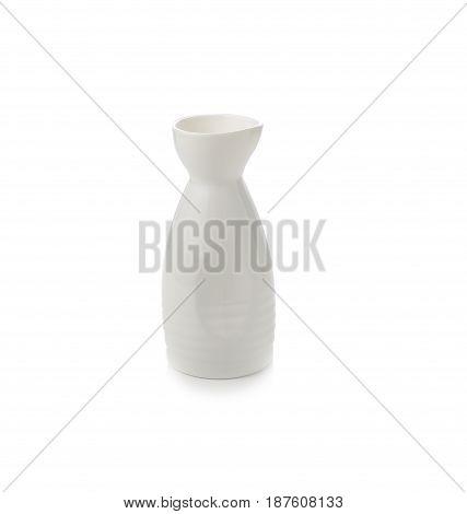 White ceramic bottle isolate on white background