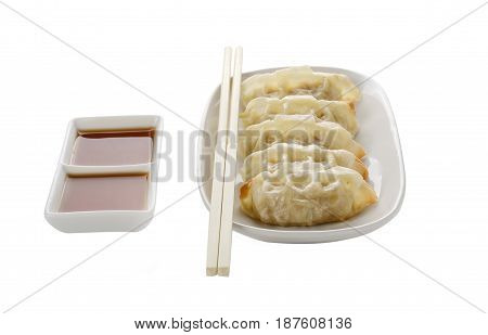 Gyoza isolate on white plate,Gyoza isolate on white background