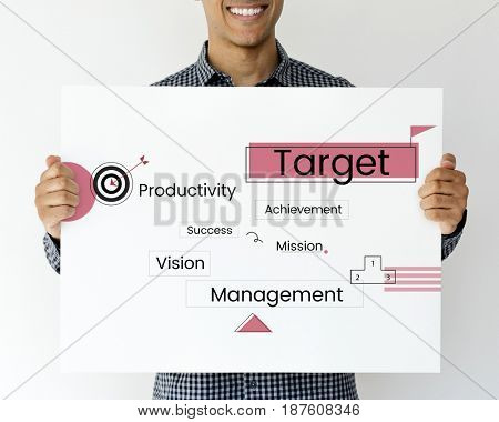 Smiling man holding a business diagram banner
