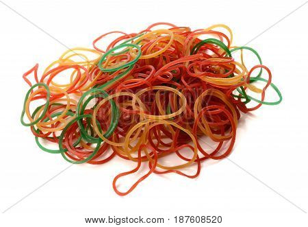 colorful rubber elastics isolate on white background