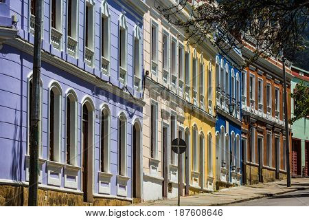 colorful Streets in La Candelaria area, Bogota, capital city of Colombia, South America