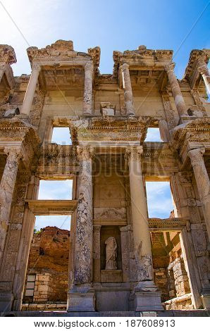 Picture of The library of Celsus at sunrise in the Roman ruins of Ephesus, Anatolia, Turkey.