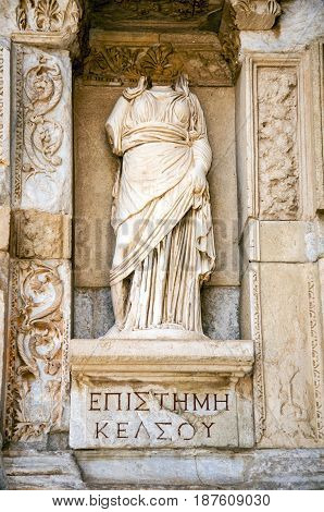 Statue of Sophia (Wisdom) in front of Library of Celsus, Ephesus, Turkey