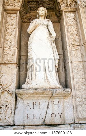 Statue of Arete, in the wall of the Celsus Library, Ephesus, Turkey