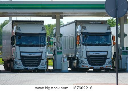 Germany - May, 18, 2017: Truck on a gas station near a highway in Germany