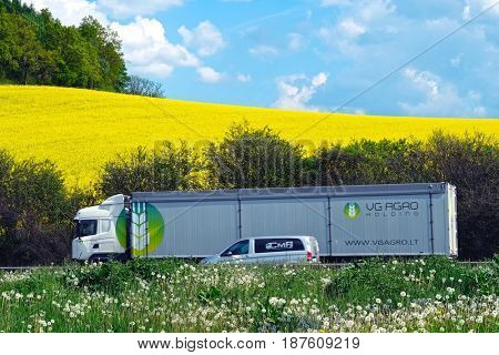 Germany - May, 17, 2017: Truck on a highway in Germany