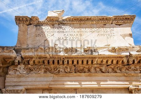 A close up ancient Greek text from Ephesus,