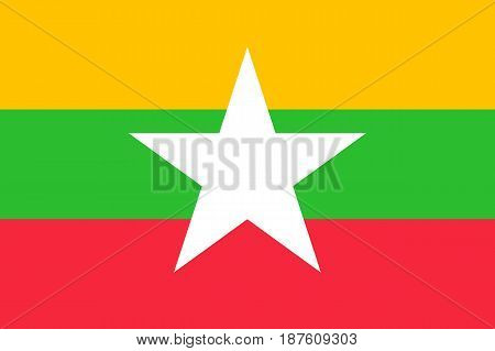 original and simple Union of Myanmar or Burma flag isolated vector in official colors and Proportion CorrectlyThe Myanmar or Burma is a member of Asean Economic Community AEC .
