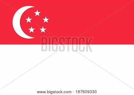 Flag of Republic of Singapore - Southeast Asia state. Is a member of Asean Economic Community AEC . Singaporean patriotic sign in official colors, crescent and stars. Vector illustration