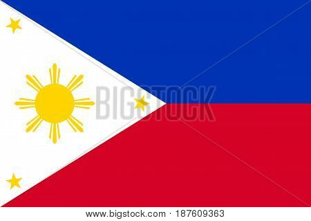 National flag of Republic of the Philippines. Patriotic philippine sign in official country colors and sun. Symbol of Southeast Asia state. Vector icon illustration