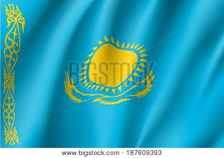 Kazakhstan national flag. Patriotic symbol in official country colors. Illustration of Asian state flag. Vector icon