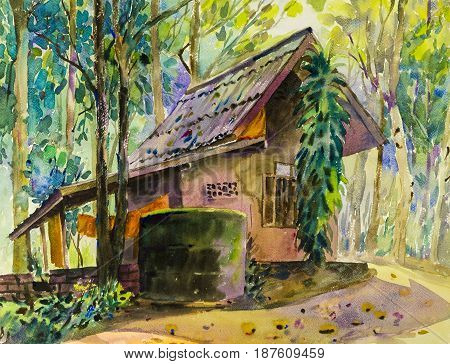 Watercolor landscape original painting colorful of house in forest and parsonageintrospection in green tree emotion background