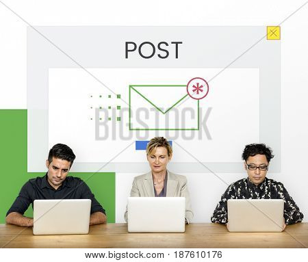 Group of people using digital devices with email icon