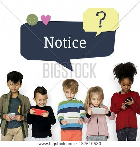 Kids using digital devices with speech bubble customer support