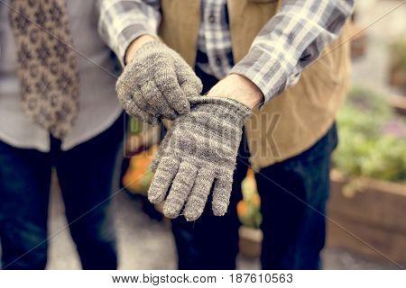 People Hands Wearing Gardening Gloves