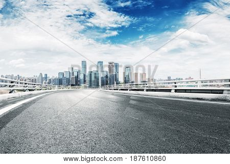 empty road with landmark buildings in chongqing