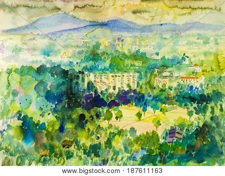 Watercolor painting original landscape colorful of mountain in city and emotion in sky cloud rain background