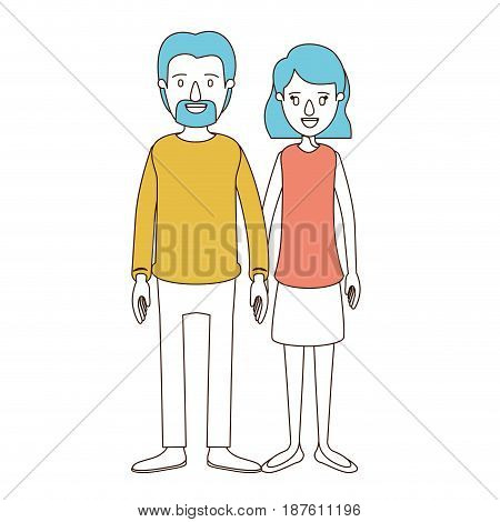 caricature color sections and blue hair of full body couple woman with wavy short hair in skirt and man in casual clothing vector illustration
