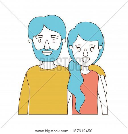 caricature color sections and blue hair of half body couple woman with ponytail side hair and bearded man vector illustration
