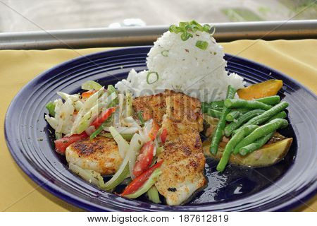 Fish fillet, rice and vegetables meal A budget meal of fish fillet, vegetables, and a serving of steamed rice served in a round blue plate