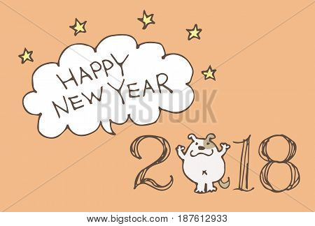 New Year Card for year 2018 with cartoon dog