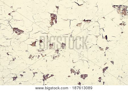 Old wooden background. Old plaques of white color. Old rustic painted cracky white wooden texture.
