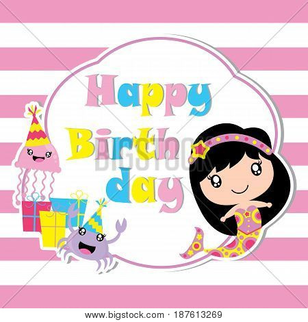 Cute mermaid, jelly fish and crab with birthday gift vector cartoon, Birthday postcard, wallpaper, and greeting card, T-shirt design for kids
