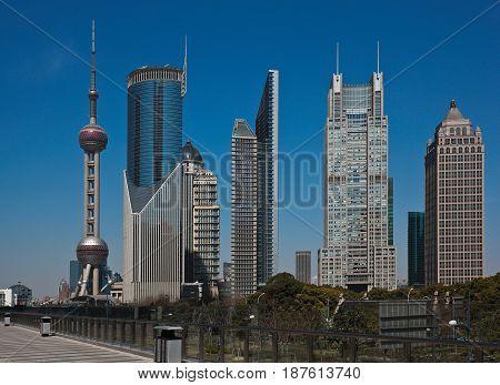 Shanghai Modern City Landmark Office Backgrounds