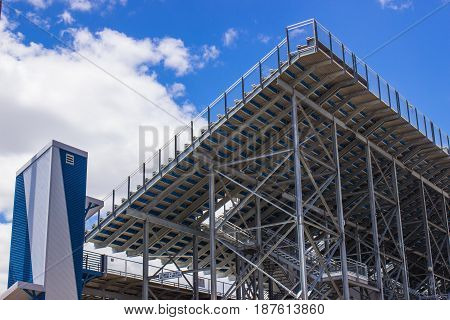 Back Of Bleachers At Sports Stadium Venue